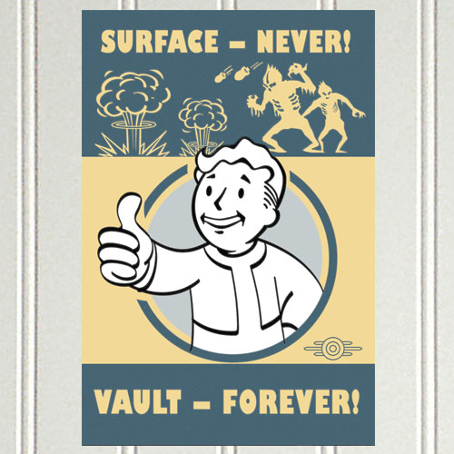 Fallout 4 Surface Never – Vault Forever Wall Tin – FanWraps